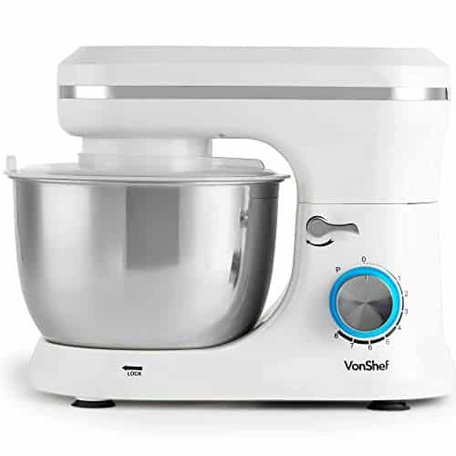 VonShef Cream Food Mixer Stand Mixer with 8 Speeds 45 Litre Mixing Bowl Splash Guard Includes Beater Dough Hook Balloon Whisk for Cake Batter Bread Desserts and more 1000W 0