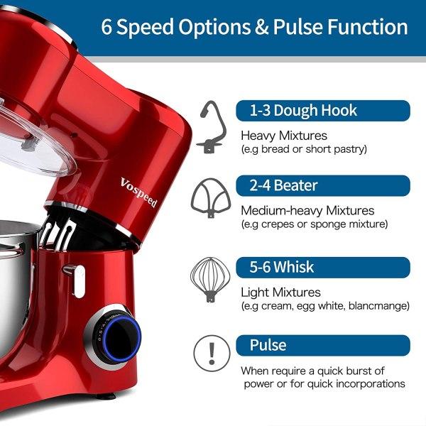Vospeed Stand Mixer 1500W Red
