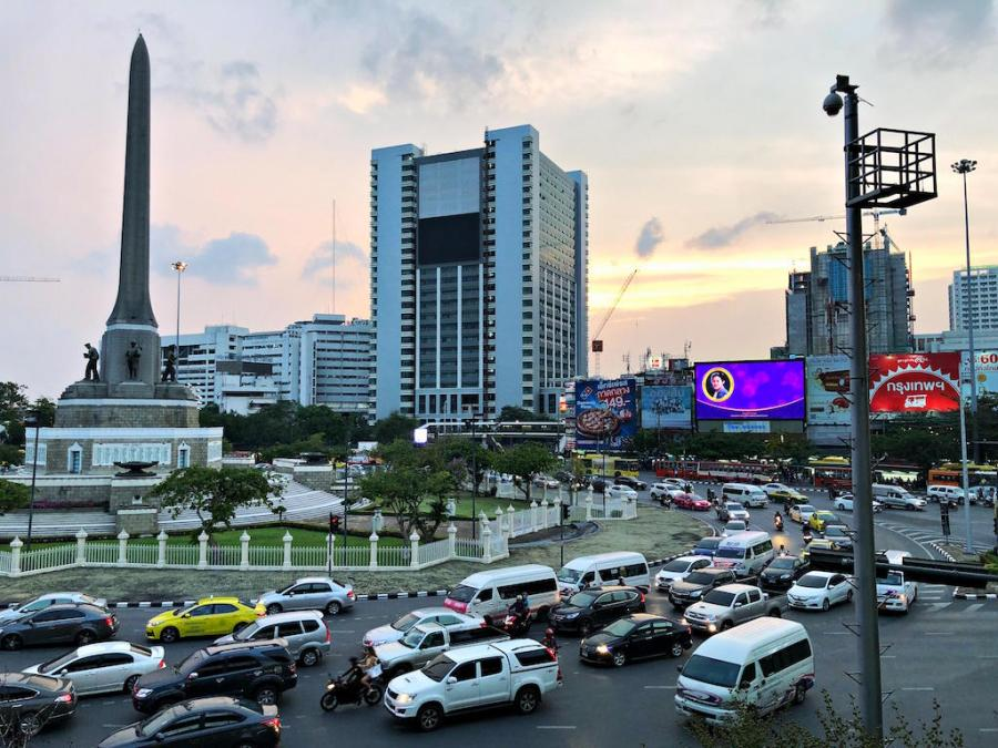 bangkok victory monument sunset