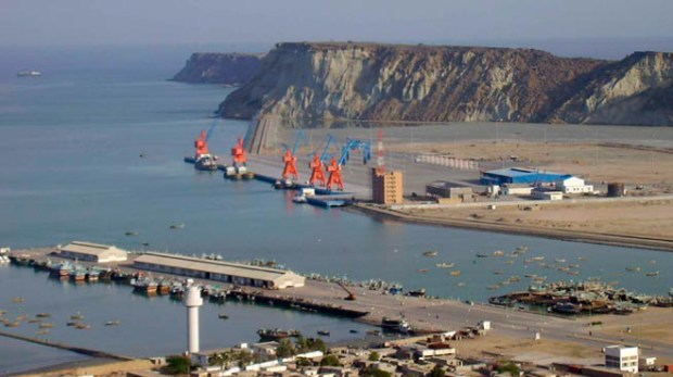 A general view of Pakistan's Gwadar deep-sea port on the Arabian Sea March 19, 2007. Pakistan tightened security around a coastal town in Baluchistan province on Monday, a day before the opening of a port authorities hope will bring prosperity to the remote and troubled region.   REUTERS/Qadir Baloch   (PAKISTAN) - RTR1NNL6