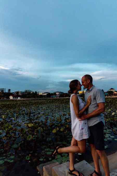 Nate & Alicia at Lotus Pond in Kampot, Cambodia