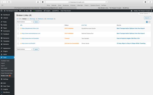 Broken Link Checker Page in WordPress