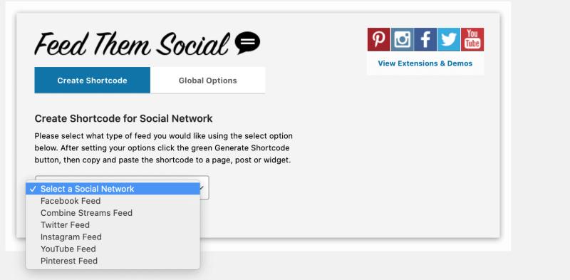 Feed them Social Shortcode builder