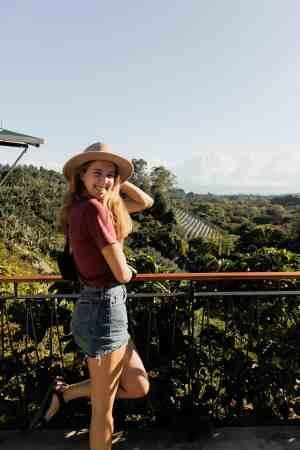 Costa Rica Travel Guide - Alicia at Starbucks Hacienda Alsacia Coffee Farm - Costa Rica