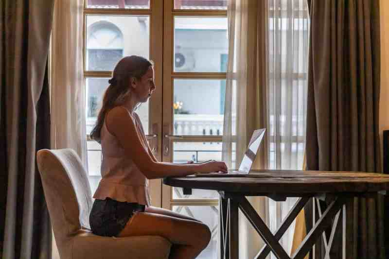Girl typing at computer