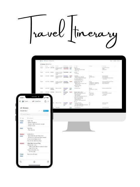 Free Notion Travel Itinerary