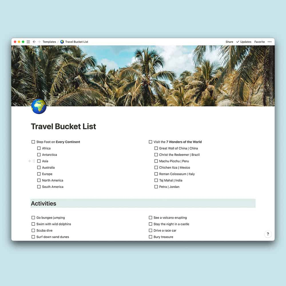 Notion Bucket List Mockup