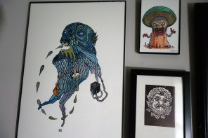 On the left is the drippy beautiful work by Tedd Anderson, then top right is and evil mushroom by Sam Moore out of New Zealand and bottom right another friend and local print maker Raj Bunnag (check out his bigger pieces, just incredible)