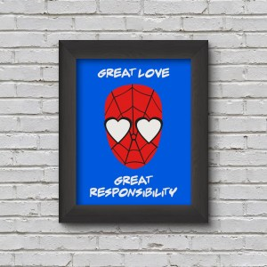 framed picture of spiderman with heart eyes