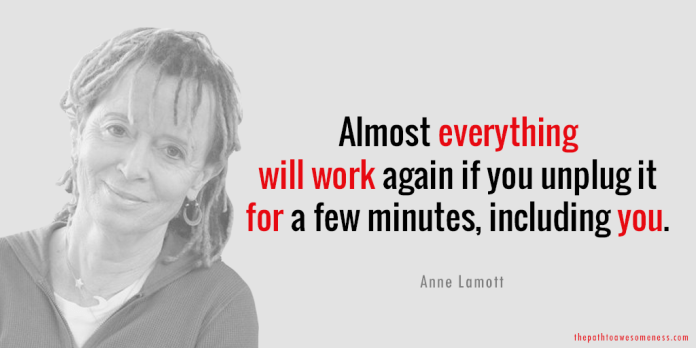 Almost everything will work again if you unplug it for a few minutes, including you Anne Lamott quote