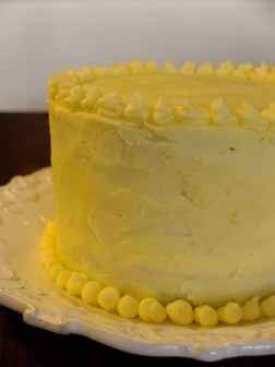 A close up of the completed cake.