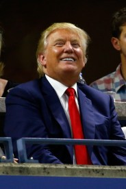 NEW YORK, NY - SEPTEMBER 08: 2016 Republican presidential candidate Donald Trump attends the Women's Singles Quarterfinals match between Serena Williams of the United States and Venus Williams of the United States on Day Nine of the 2015 US Open at the USTA Billie Jean King National Tennis Center on September 8, 2015 in the Flushing neighborhood of the Queens borough of New York City. (Photo by Al Bello/Getty Images)