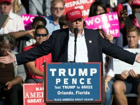 Republican presidential candidate Donald Trump speaks during a campaign stop in Orlando, Fla., Wednesday, Nov. 2, 2016. (AP Photo/Matt Rourke)