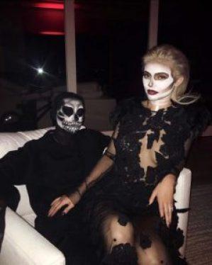 https://www.instagram.com/p/BMI47PPhomP/?hl=en Screengrab of Kylie Jenner's Instagram of her and Tyga in their 3016 Halloween Costumes as skeletons 10/29/16 Source: Kylie Jenner/Instagram