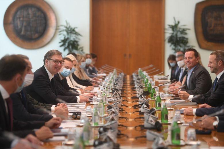 Serbian President Aleksandar Vucic hosts high level meeting with USG delegation in Belgrade
