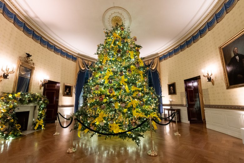 The Blue Room of the White House is decorated for the Christmas season Sunday, Nov. 29, 2020. (Photo by Andrea Hanks)