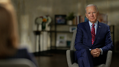 Joe Biden during his interview with Norah O'Donnell, Anchor and Managing Editor, CBS EVENING NEWS WITH NORAH O'DONNELL. Credit: CBSNews/60 MINUTES ©2020CBS Broadcasting Inc. All Rights Reserved.