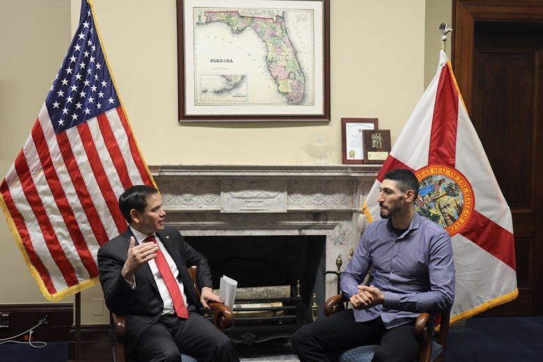 U.S. Senator Marco Rubio (R-FL) talks with  Enes Kanter about human rights abuses and democratic backsliding in Turkey under President Recep Tayyip Erdogan.