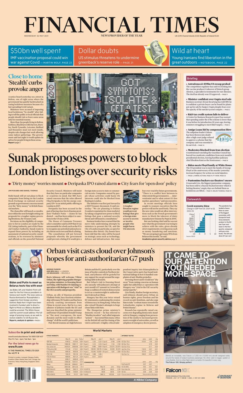 Wednesday's Financial Times