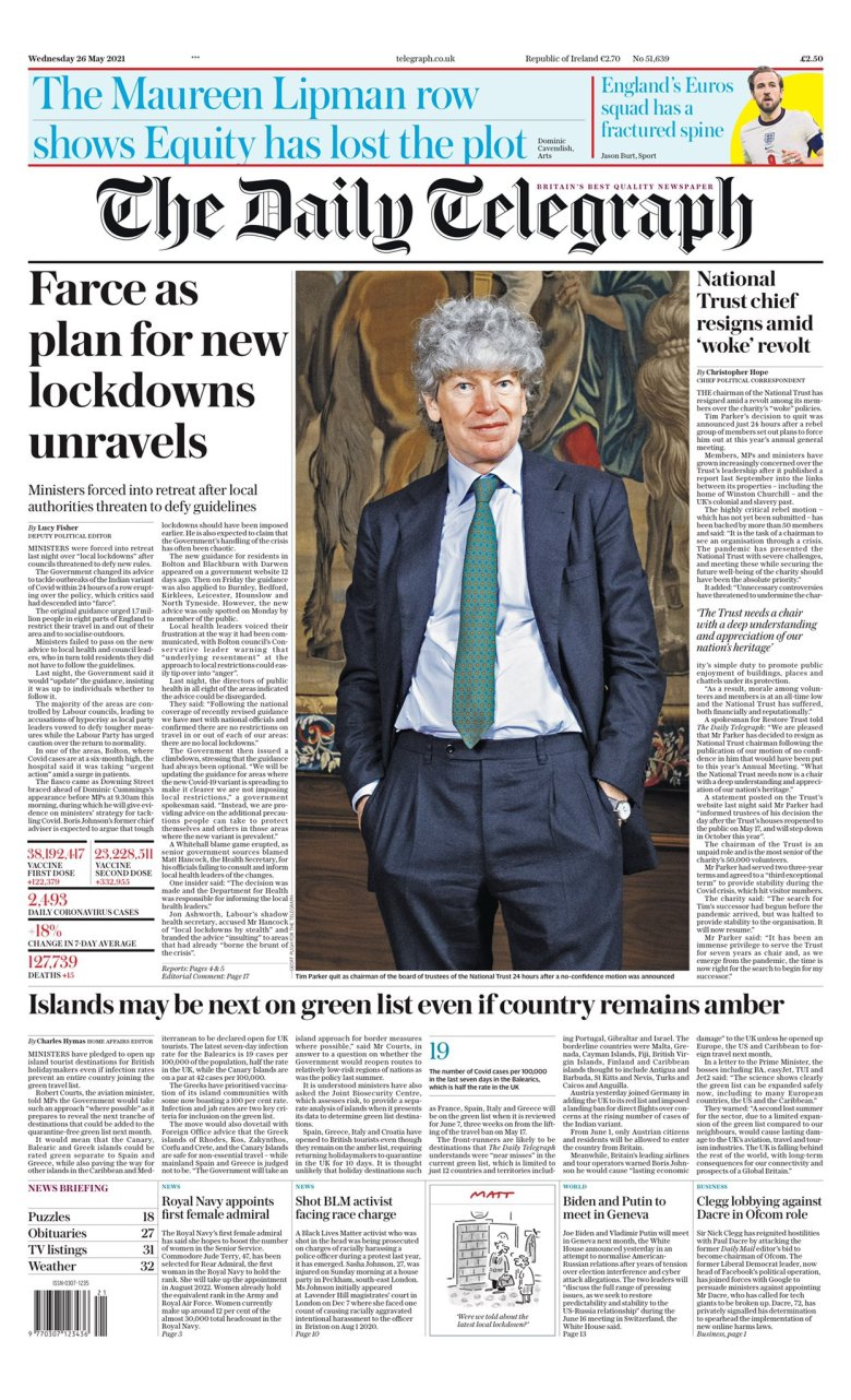 Wednesday's Daily Telegraph