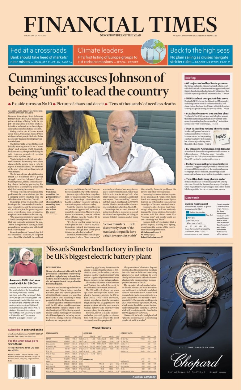 Thursday's Financial Times