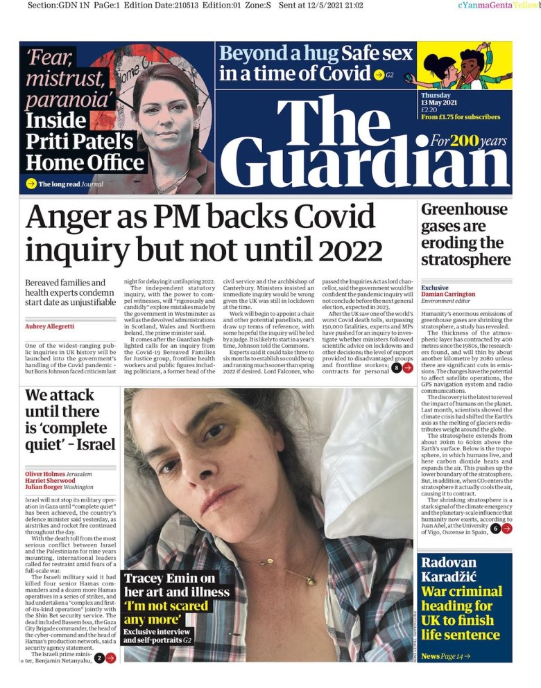 Guardian front page for May 13, 2021