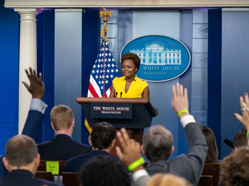 Deputy Press Secretary Karine Jean-Pierre holds a daily briefing Wednesday, May 26, 2021 in the James S. Brady Press Briefing Room of the White House. (Official White House Photo by Katie Ricks)