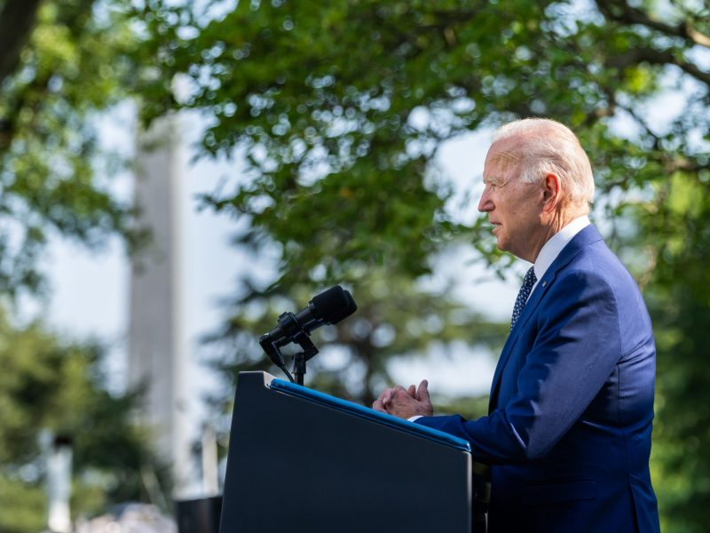 President Joe Biden delivers remarks at a Congressional Gold Medal bill signing event to honor U.S. Capitol police, Thursday, August 5, 2021, in the Rose Garden of the White House. (Official White House Photo by Adam Schultz)