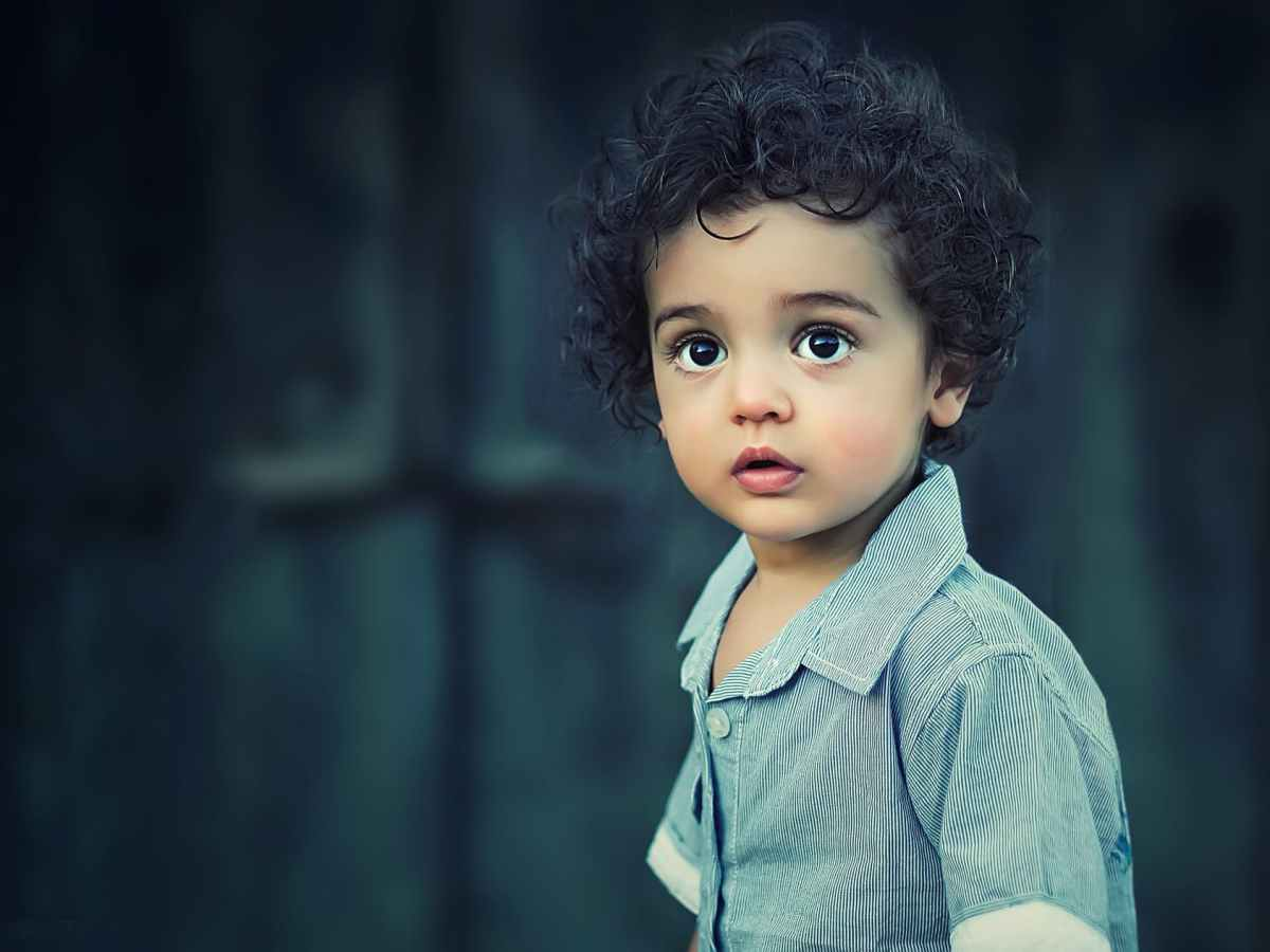 toddle wearing gray button collared shirt with curly hair