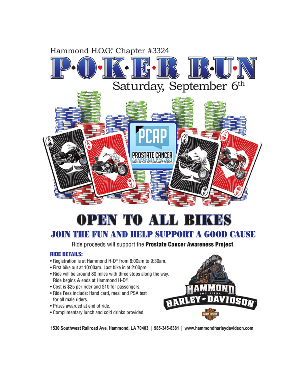 Picture of the Flyer for the September 6, 2014 Hammond HOG Poker Run for Prostate Cancer