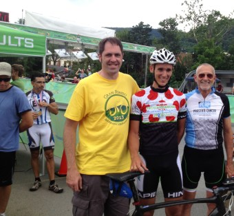 Picture of Matt Butterman - SportVista Executive Director, Justin Crawford - under 50 King of the Mountain Winner, and Robert Hess - Founder/CEO of Prostate Cancer Awareness Project