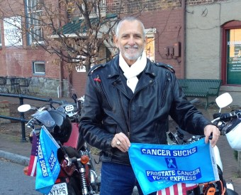 Robert Warrren Hess with Prostate Cancer Pony Express Flag