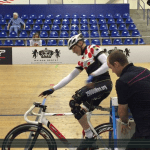 Robert Warren Hess practicing with the start gate at Velo Sports Center Los Angeles