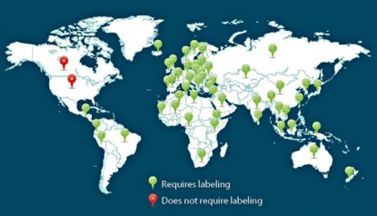 Countries with GMO labeling vs without