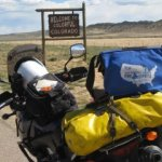 Motorcycle with Pony Express Bag near Colorado State Line