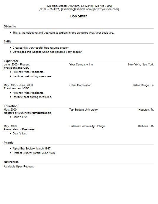 resume example 13 free resume creator