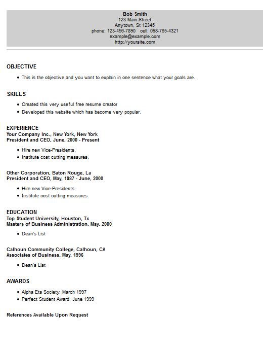resume example 18 free resume creator