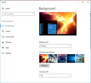 Background Settings Window