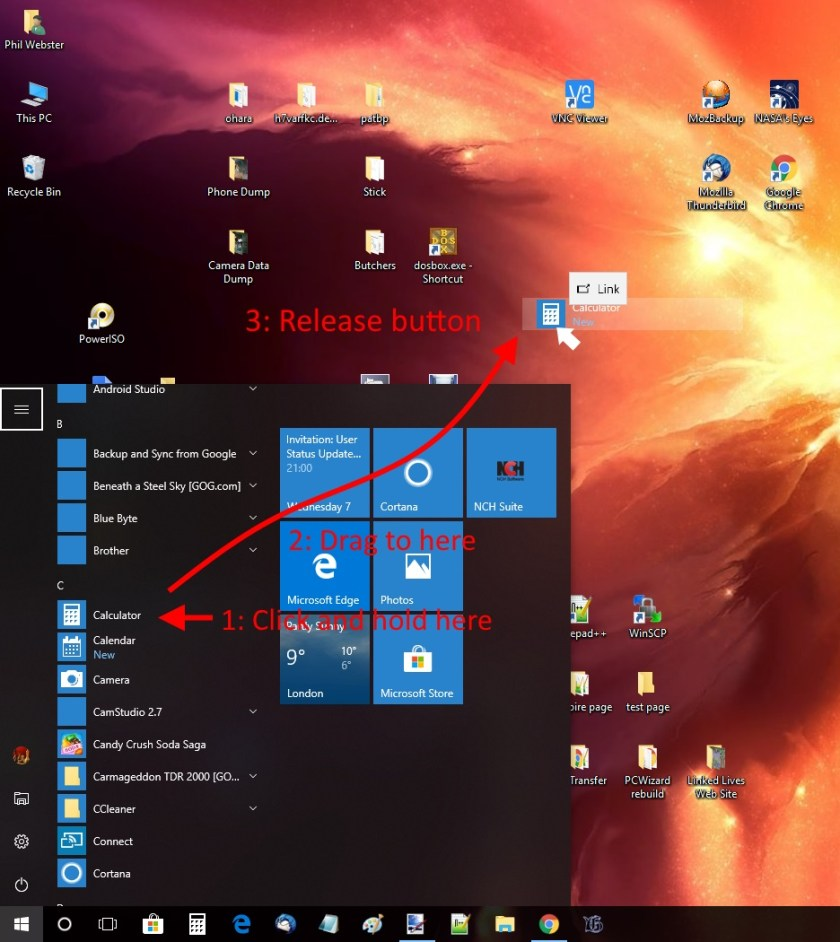 Dragging a Link from the Start Menu