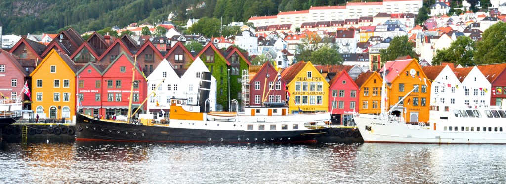 Photo 1. View of Bryggen, Bergen's famous historic wharf, from our departing boat