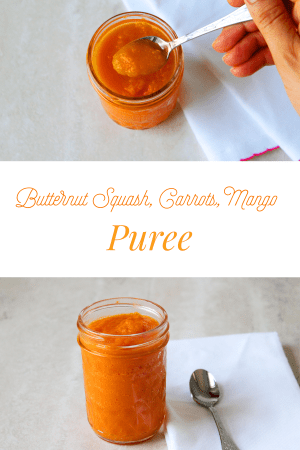 Make this delicious Butternut Squash, Carrots, Mango Puree. This homemade baby puree is loaded with vitamin C, A and potassium to name a few. Essential for your baby's growth and development. With a delicious sweet taste your little one is sure to love it.