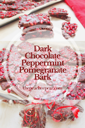 Once you take a bite out of this bark you can taste Christmas. The juiciness from the pomegranate seeds blends in with the peppermint chocolate making it the perfect holiday treat.