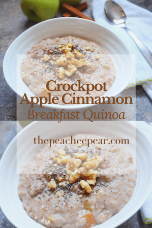This Crockpot Apple Cinnamon Breakfast Quinoa is the perfect breakfast to stay warm during this frigid cold winter. Cooks overnight so you have breakfast ready in the morning. This is a great healthy slow cooker recipe.