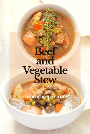 Stay warm during the cold weather with this Beef and Vegetable Stew. Loaded with protein and vegetables it's the perfect dinner to get through this winter and the whole family can enjoy it.  It's a very flavorful stew making this a great healthy and delicious meal.