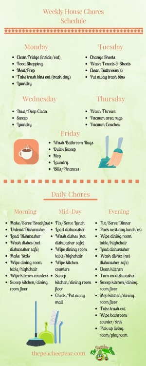 weekly house chores schedule with free printable checklist