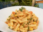 Quick & easy Dairy Free Tuna Pasta with Veggie Sauce. Gluten free Pasta smothered with creamy dairyfree sauce thickened with sweetcorn and full of herbs!