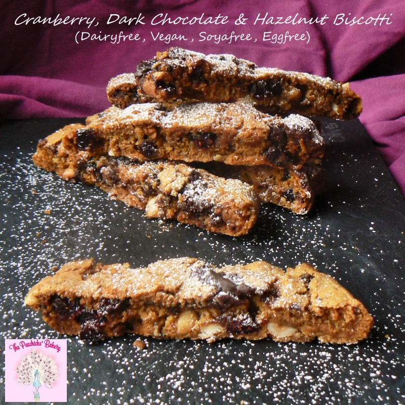 Crisp, crunchy & full of flavour these Cranberry Hazelnut & Dark Chocolate Vegan Biscotti are really tasty and perfect with a nice strong coffee.  A great dairyfree, eggfree alternative for everyone who has been missing biscotti! You'll never be able to tell the difference!