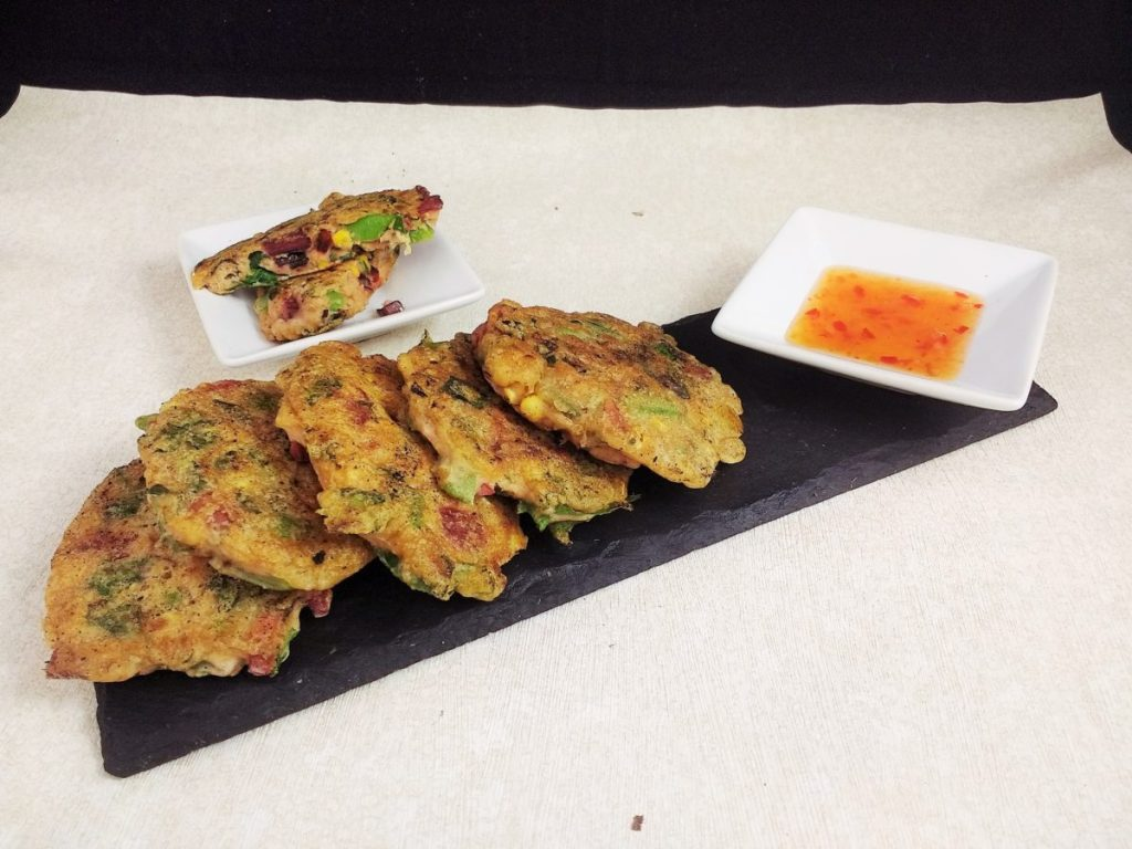 My Glutenfree Veggie Fritters are easy to prepare with just 3 ingredients: Veggies, Water & Flour! A speedy midweek meal, vegan starter or allotment lunch! Made with a Dairyfree, Eggfree, Soyfree Batter