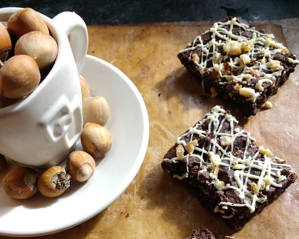 Dark, chewy,Vegan Hazelnut Espresso Brownies with a salty, sweet crunch and a strong, shot of espresso! And they are Glutenfree too! Your welcome! :)
