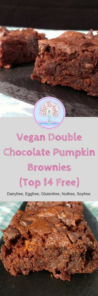 These gorgeous #Vegan Double Chocolate Pumpkin Brownies prove that pumpkins aren't just for carving.  Dark, Fudgy & gooey with a classic crunchy brownie top, they are the perfect accompaniment to a good old cuppa for any chocolate lover.  AND they are not only #dairyfree, #eggfree  and #soyfree but are #glutenfree and #nutfree too!